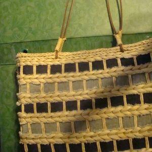 Handbags - Braided 100% Cornhusk w/Blue Jean Material Handbag